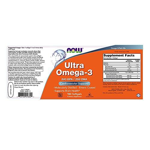 Now Foods, Ultra Omega-3 500 EPA/250 DHA, 180 Weichkapseln