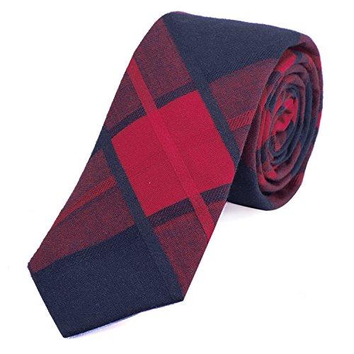 DonDon Herren Krawatte kariert 6 cm rot-dunkelblau -