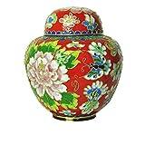 MUJING Pet Memoriali Elite Cloisonne Floral Blush Pet Cremation Urn, 30 Pollici Cubici, Rosso