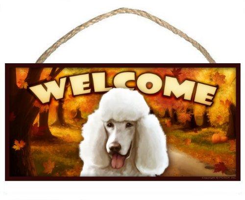 Weißer Pudel Herbst Saison Welcome Hundeschild/mit Die Kunst des Scott Rogers -