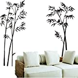Cosanter Bambus Wandaufkleber Wandsticker, schwarz Sehr grosses 60x90 cm Wall Sticker für Badezimmer Schlafzimmer