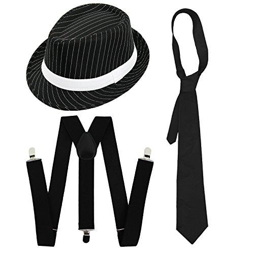 Gangster-Kostüm-Set, für Herren, elegant, Kleid-Zubehör, Deluxe-Set, Schwarz oder Weiß, Nadelstreifen, Filzhut + weiße Hosenträger + weiße Krawatte, Al Capone-Stil