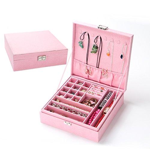 Hölzernes Flannelette-Verschluss-Doppelt-Plattform-Juwel-Kasten, das Kasten, 26 × 26 × 9Cm, Rosa enthält Bulk Kunststoff-juwelen