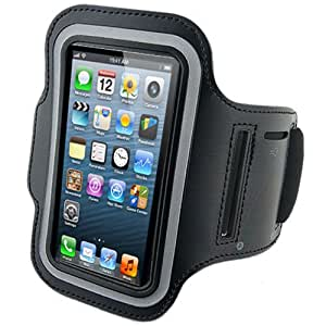 GadgetinBox™ - Sports Running Jogging Adjustable Armband Gym Case Cover for iPhone 5 5G (Black)
