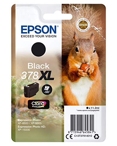 Epson Tintenpatrone 378XL Claria Photo HD Ink 11,2 ml, Schwarz, 500 Seiten, für Drucker (Schwarz, Epson, Expression Photo XP-8500, XP-8505 Expression Photo HD XP-15000, 11,2 ml, 500 Seiten) -