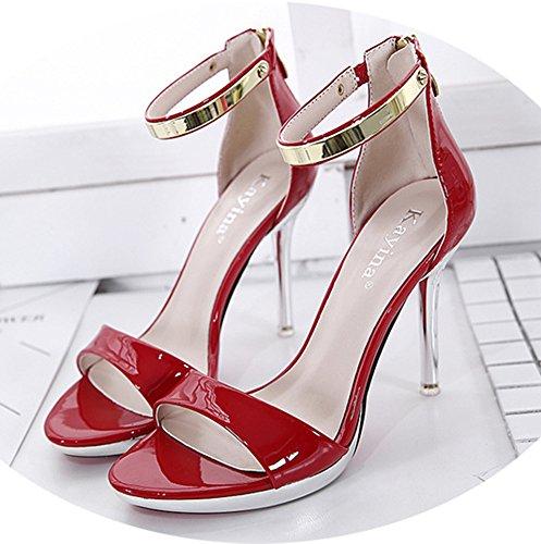 Aisun Femme Mode Ornement Métallique à Talon Haut Aiguille Sandales Rouge