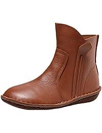 Vogstyle Damen Leder Stiefel New Flache Schuhe