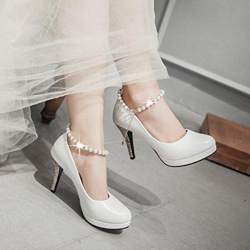 AIYOUMEI Samt Riemchen Pumps mit Perlen Stiletto High Heels Glitzer Absatzschuhe für Party Hochzeit rot(10cm)