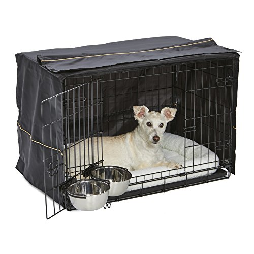 Dog Crate Starter Kit | One 2-Door iCrate, Pet Bed, Crate Cover & 2 Pet Bowls | 30-Inch Ideal for Medium Dog Breeds