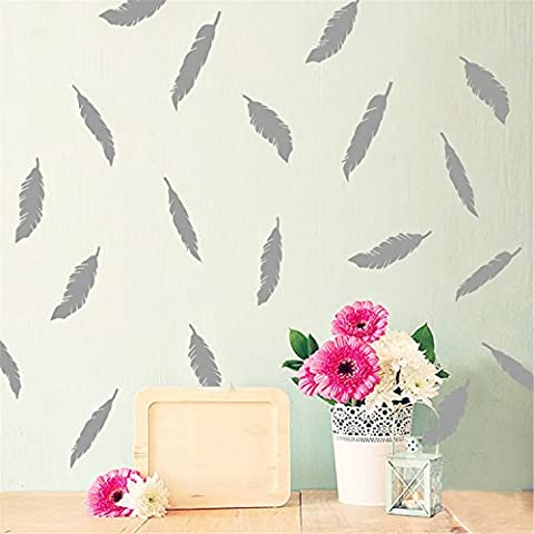 Yanqiao 12Pcs/set Magnificent Feathers for Kids'Room Fashion Decorate,Vinyl Removable Home Decoration Wall Stickers & DIY Materials,Grey