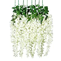 Unomor 3.25 Feet Artificial Wisteria Flowers Hanging Flowers for Wedding Decorations - 8Pcs