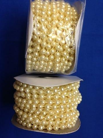 Kunstperlen 6 mm Kunststoffperlen auf Einem Strang Light Craft Elfenbein,