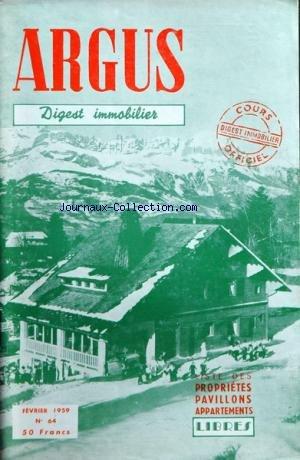 ARGUS IMMOBILIER ET COMMERCIAL (L') [No 64] du 01/02/1959 - liste des appartements et proprietes a vendre libres a paris et sa banlieue par Collectif