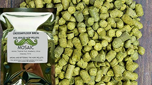 450g of Mosaic Hop Pellets. 10-14% AA - 2018. Cold Stored. Foil CO2 Flushed, or Poly Vacuum packed for Freshness