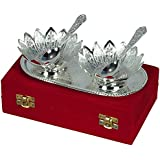 Jaipur Ace Festivals Gifts Silver Plated Floral Shaped Brass Bowls With 1 Spoon And 1 Tray (Abs00039)