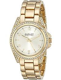 August Steiner Mujer Crystal-Accented Gold-tone Reloj con pulsera de eslabones