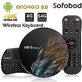 Sofobod HK1 MAX TV Box Android 9.0 TV Box 4GB RAM 64GB ROM 2.4G/5G Dual WiFi H.265 Decoding HD 4K Set Top Box +i8 Mini Wireless Keyboard