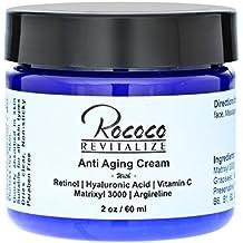 Rococo Revitalize Anti Aging Cream with Retinol Vitamin a Hyaluronic Acid and Vitamin C Matrixyl 3000 Argireline Peptide - 2oz