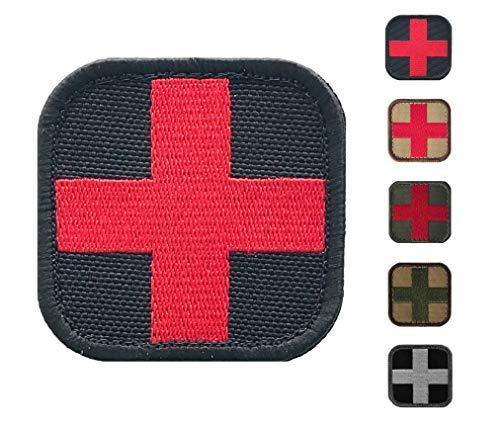 Medic Cross Erste-Hilfe-Aufnäher, bestickt, perfekt für IFAK Rip Away Tasche, EMT, EMS, Trauma, Medizinisch, Rettungsset für Sanitäter, Taktik, Kampf, Notfall schwarz/rot -