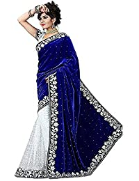 Sarees (Women's Clothing Saree For Women Latest Design Wear Sarees New Collection In BLUE Coloured VELVET Material...