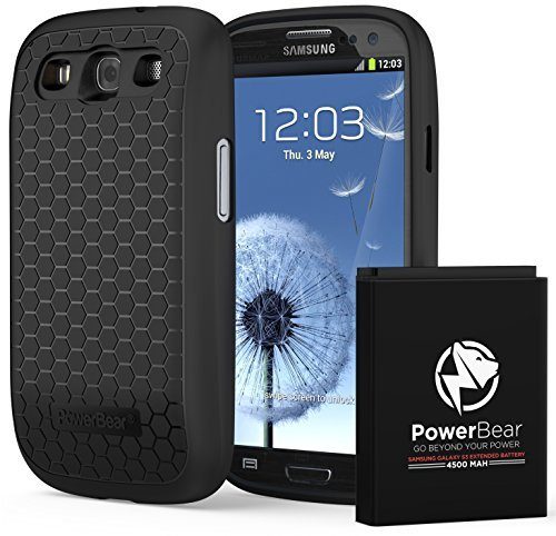 PowerBear Extended Battery for Samsung Galaxy S3 3.8v 4500 mAh 2X the power Compatible with the GT-I9300 T999(T-Mobile) I747(AT&T) I535(Verizon) R530(U.S. Cellular) L710(Sprint) Fits EB-L1G6LLU with NFC/Google Wallet  available at amazon for Rs.5639
