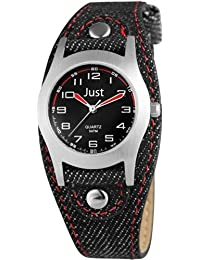 Just Watches Unisex-Armbanduhr Analog Quarz Textil 48-S0010-BK-RD