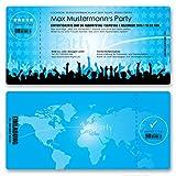 (40 x) Einladungskarten Geburtstag Eintrittskarte Party Ticket Einladungen Hellblau