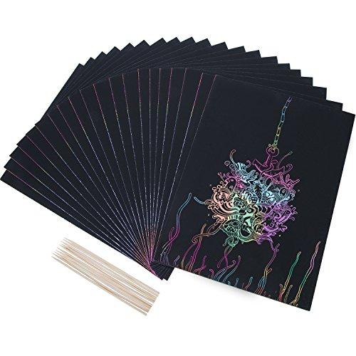 20 Blätter Scratch Art Kratzbilder Malerei Papiere mit 10 Stück Holz Stylus Sticks, 8,25 Zoll x 11 Zoll, Schwarz