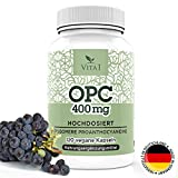 OPC Antioxitant Grape Seed Extract Capsules • Highly Dosed 400 mg • 120 Capsules • Vegan & Gluten-Free • Made in Germany from VITA1