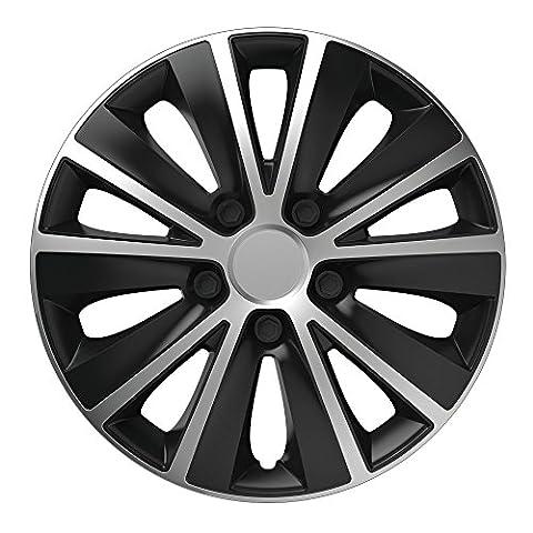 15 Zoll Radzierblenden RAPIDE BICOLOR (Silber/Schwarz). Radkappen passend für fast alle VW Volkswagen wie z.B. Caddy