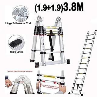 Teleskopleiter, 3,8 m, faltbar, 1,9 m + 1,9 m, Aluminium, A-Rahmen, Mehrzweck-Leiter, für Büro-Archive, Aktenräume und Haushalt mit EN131-Zertifikat