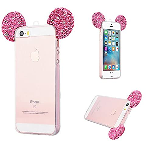 Transparente Coque iPhone 5S Bling Silicone Souple Case Adorable Mickey Oreille, Solaxi TPU Housse Etui pour Apple iPhone SE / 5 / 5S avec Lanyard Ultra Mince Couverture Légère Slim Flexible Coquille Shell Skin Protecteur Fonction Anti Choc Anti Rayure - Rouge