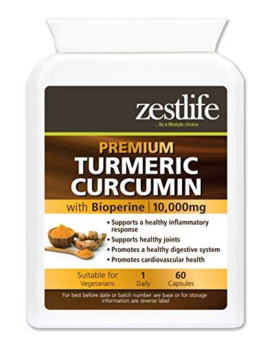 Potency 60 Tabletten (Zestlife Kurkuma / Curcumin 60 Kapseln 500mg Extrakt äquivalent zu 10.000mg - Ein starkes Anti-Oxidationsmittel / Hilft, Entzündungen im Körper zu reduzieren)