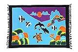 Ciffre Original Yoga Sarong Pareo Wickelrock Strandtuch Rund ca 170cm x 1110cm Handtuch Schal Kleid Wickeltuch Wickelkleid Meerestier Bunt