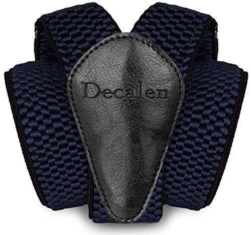 Decalen Hosenträger für Herren breit extra starken Clips Y Form Lang Eine Größe Passt Alle Männer und Damen Verschiedenen Farben (Marineblau)
