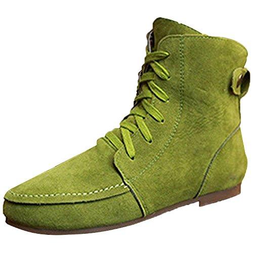 Minetom Femmes Automne Hiver Bottes de Neige Cheville Chaudes Fourrure Laçage Chaussures Plates Bottines À Lacets Vert Coton