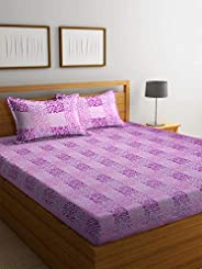 Boutique Bedding Queen Size 100 Cotton 220TC Bedsheet with 2 Pillow Covers (Purple and Pink, 235x225 cm)