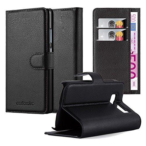 Cadorabo Hülle für Alcatel OneTouch Pop C5 Hülle in Phantom schwarz Handyhülle mit Kartenfach & Standfunktion Case Cover Schutzhülle Etui Tasche Book Klapp Style Phantom-Schwarz
