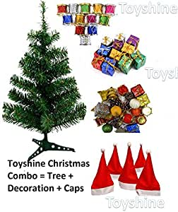 Toyshine Christmas Tree Celebration Combo   3 Ft Tree + 48 Pcs Decoration + 10 Christmas Caps Free Size