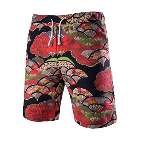 Zhhlinyuan Herren Mode gedruckt Casual Hosen Strand Shorts Atmungsaktives Leinen Straight Sports Boardshort Mehrfarbig