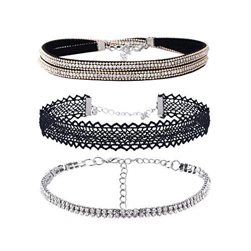 ta 3 Layer Flanell Lace Strass Einstellbare Choker Halskette für Frauen & Mädchen (Kinder Vampir Outfits)