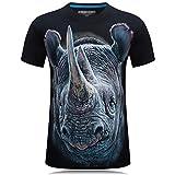 Cayuan 3D Rhino Fotodrucken Tees Tops Herren Animal Print O-Neck T-Shirt Men Sommer Kurzarm Oberteile Hip Hop Plus Size Schwarz