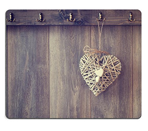 luxlady-natural-rubber-gaming-mousepads-rustic-heart-decoration-hanging-from-hook-on-wood-panel-wall