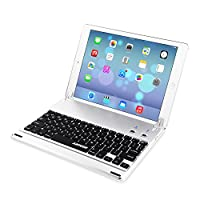 ARTECK Ultra-Thin Apple iPad Air 2/9.7-inch iPad Pro Bluetooth Keyboard Folio Case Cover with Built-In Stand Groove for Apple iPad Air 2 with 130 Degree Swivel Rotating-Silver