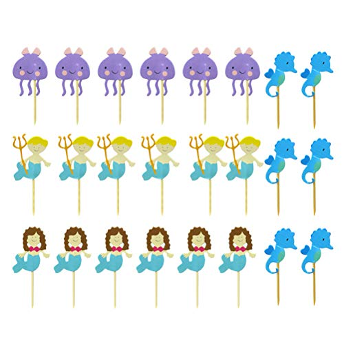 BESTONZON Unter dem Meer Cupcake Topper Tier Topper Obst Picks Baby Shower Party begünstigt 24pcs
