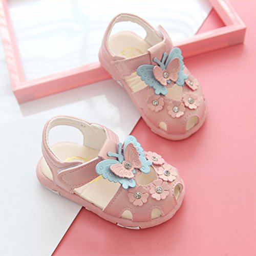 Zhhlaixing Soft PU Leather Baby Girls Shoes Soft-Soled Soles Pink
