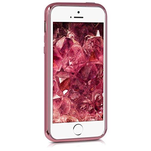 kwmobile Hülle für Apple iPhone SE / 5 / 5S - TPU Silikon Backcover Case Handy Schutzhülle - Cover klar Weltkarte Umriss Design Gold Transparent Rahmen galvanisiert Rosegold Transparent