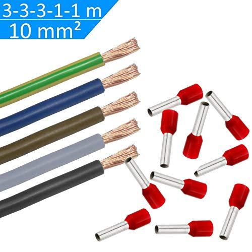 WITTKOWARE Verdrahtungssatz, 10mm², 3/3/3/1/1m (sw/gr/bn/bl/gn-ge), 50 Aderendhülsen -