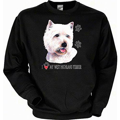 Für den Hundefreund und Tierliebhaber: West Highland Terrier Sweatshirt Farbe schwarz, Größe XXL West Highland Terrier Sweatshirt