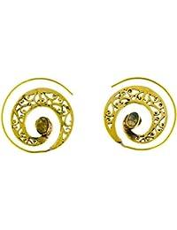 a41225470165 Chic-Net Espiral Pendientes Labradorita puñetazo latón amplia ovalada níquel  oro antiguo libre Piercing tribal